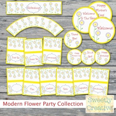 PRINTABLE Modern Spring Flower Party Collection